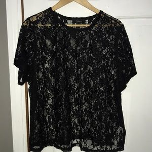 Forever21 Black Lace Shirt Sheer New NWT 3X 18 20